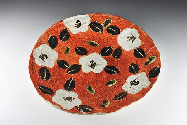 【美濃焼】赤濃山茶花10.0大皿 33cm×32.3cm×高さ4.3cm