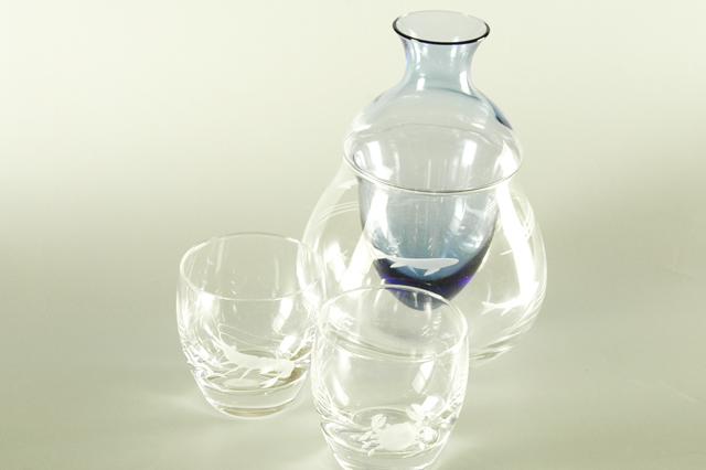 【ガラス】海の幸冷酒セット 徳利(容量220cc)1+盃2