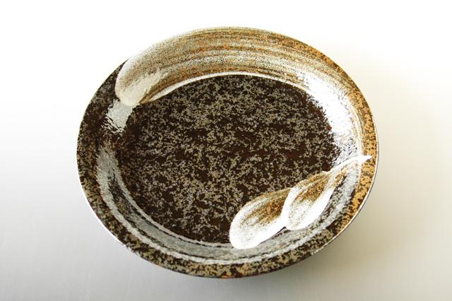 【美濃焼】荒刷毛9寸深皿 直径28cm