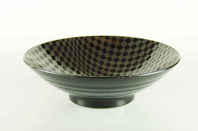 【つけ麺・韓国風サラダに】銀彩市松24cm広口鉢