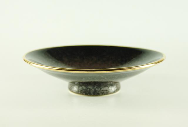 【有田焼】渕金朱天目平鉢 直径16.5cm×高さ4.3cm