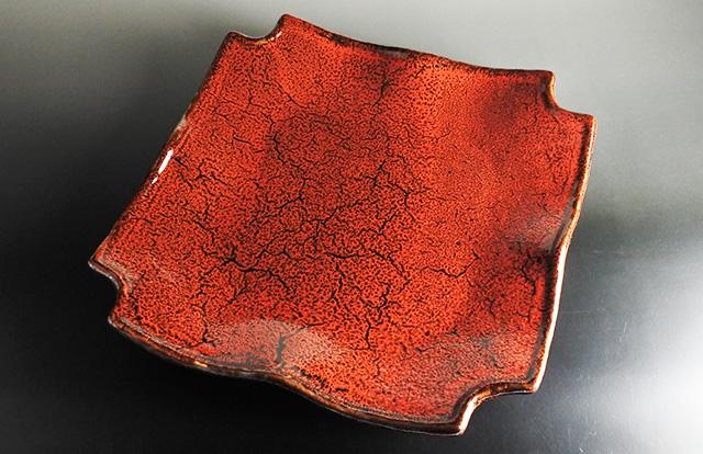 【宴会パーティーに】美濃焼 紅天目隅切角大皿 33.2cm×33.2cm×高さ5.5cm