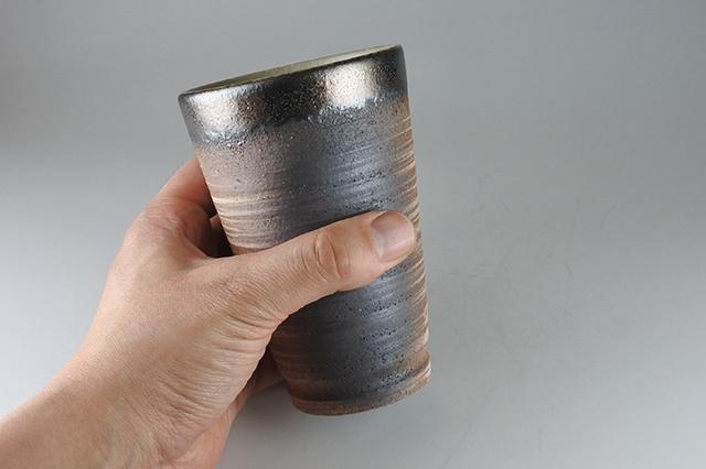 ビール・焼酎お湯割りに陶器の【金彩フリーカップ】