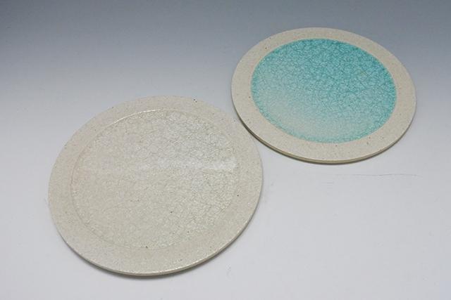 さわやかな【ガラス釉22㎝丸皿】