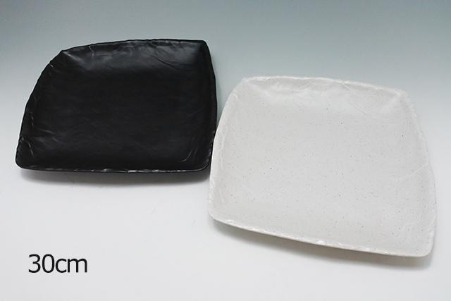 メラミン樹脂の大皿【石削り変形角皿30cm】