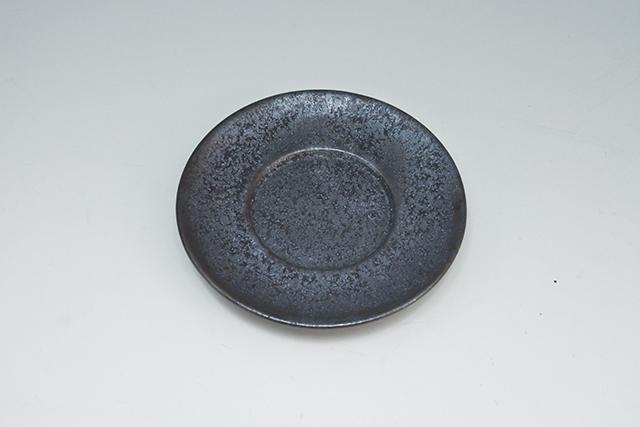 陶器の茶托【黒晶内丸ソーサー】