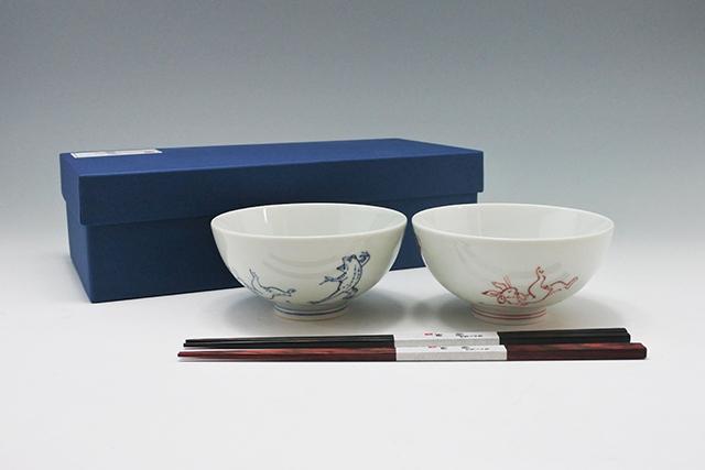 お祝い・ペアギフトに【鳥獣戯画の夫婦茶碗】