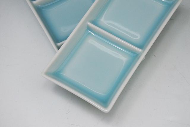 焼肉のたれ、串揚げソース、薬味皿に【青白磁二品・三品皿】