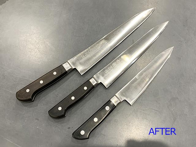 簡易研ぎ器で刀線がうねった牛刀、筋引きの修理