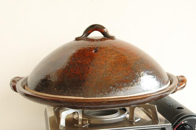 アメ釉 12号蓋付き陶板焼き